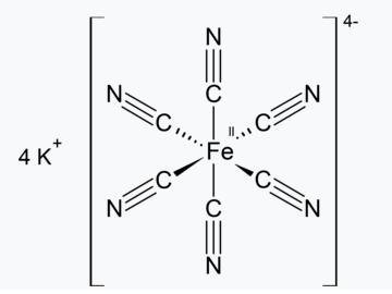 formula quimica ferrocianeto de potássio
