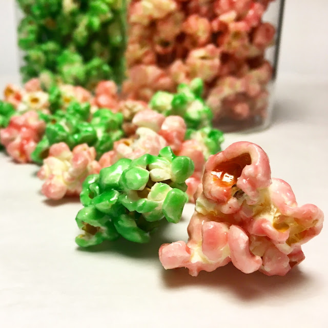Close Up of Fruit Punch and Green Apple Candied Popcorn