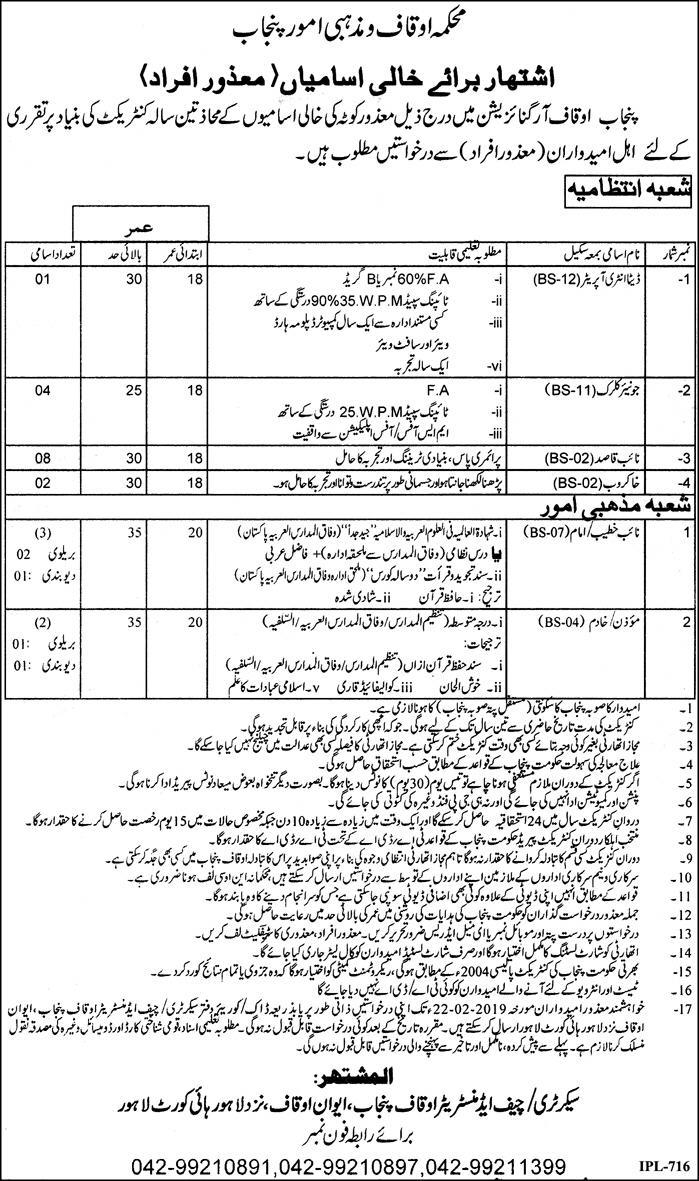 Jobs Vacancies In Auqaf And Religious Affairs Govt Of Punjab 27 January 2019