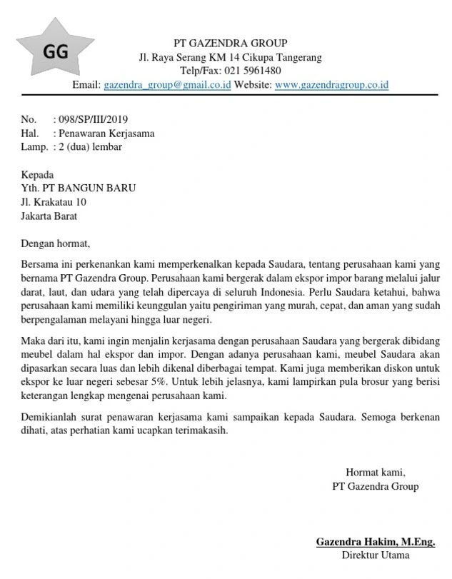 Contoh Surat Penawaran Kerjasama Ekspor Impor