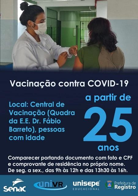 Vacinação contra o Covid-19 a partir de 25 anos em Registro-SP