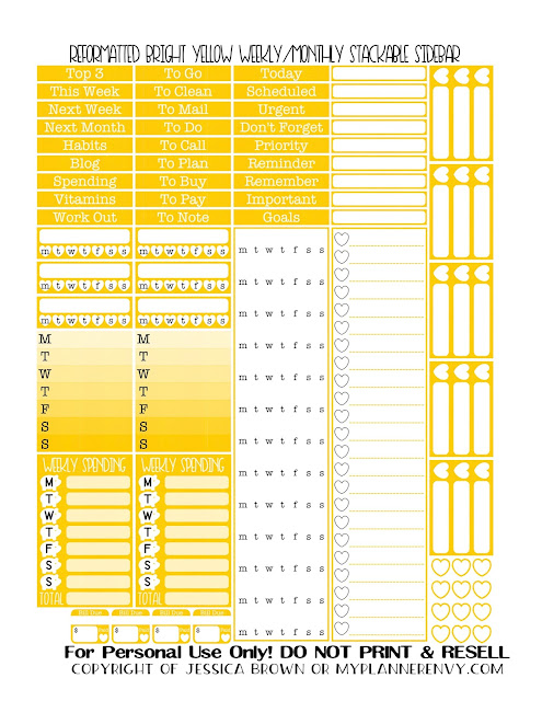 Free Printable Reformatted Monthly/Weekly Stackable Sidebar in Bright Yellow from myplannerenvy.com