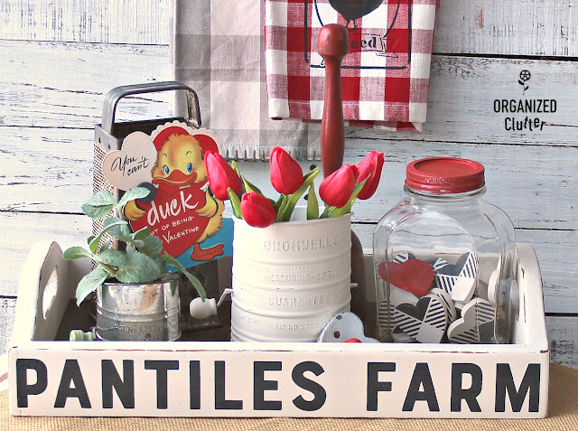 Goodwill Farmhouse Serving Tray Upcycle And A Valentine's Day Container Vignette #farmshouse #valentinesdecor #primamarketingtransfers #trays #containervignette