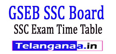 GSEB SSC Exam Time Table 2019
