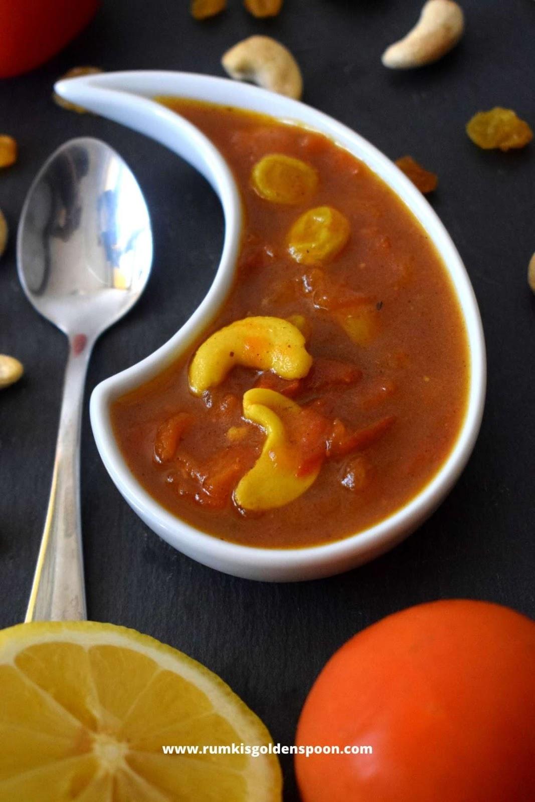 Tomato chutney, recipes with tomato chutney, tomato chutney recipe, Sweet Tomato chutney, bengali tomato chutney, Rumki's Golden Spoon