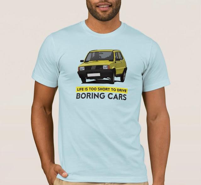 Life is too short to drive boring cars - yellow Fiat Panda shirt