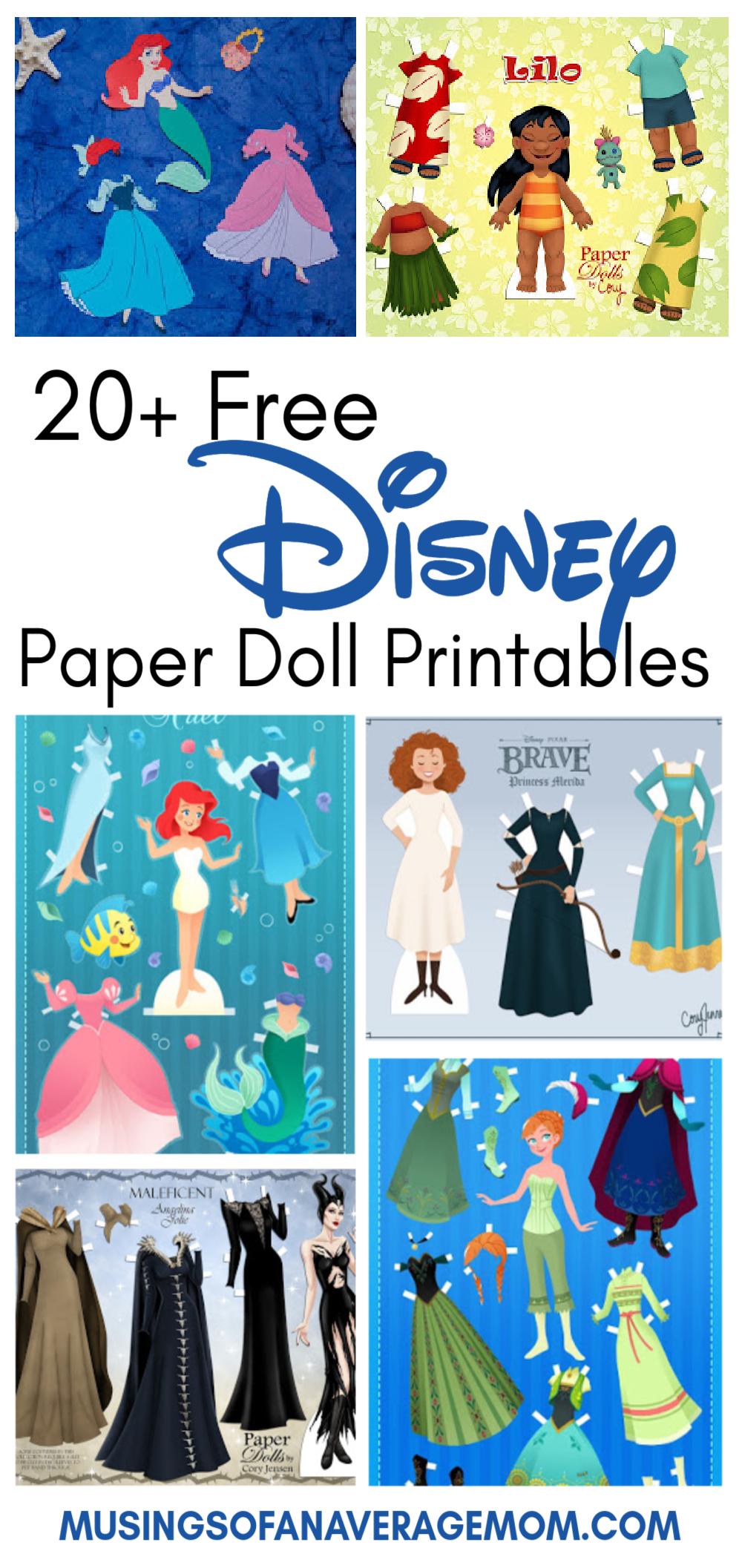 Musings Of An Average Mom Free Printable Disney Dress Up Dolls