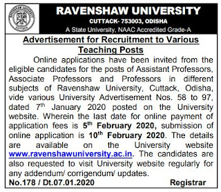 Ravenshaw University Recruitment 2020 Assistant Professor – Previous Question Papers