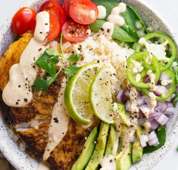 PALEO FISH TACO BOWLS #healthydiet #veggies
