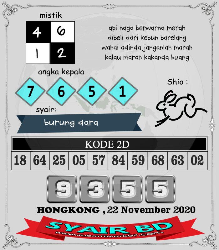 Syair BD HK Minggu 22 November 2020