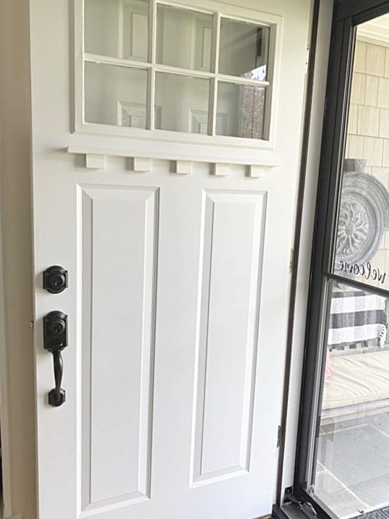 front door with shelf