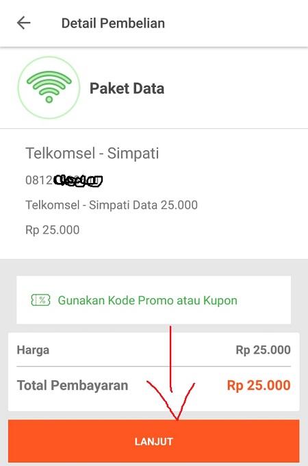 Detail Pembelian Paket Data Tokopedia