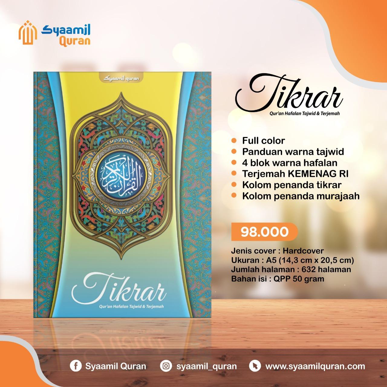 Jual Produk Syaamil Qur'an, Al-Qur'an Tikrar: Qur'an Hafalan Tajwid Dan Terjemah