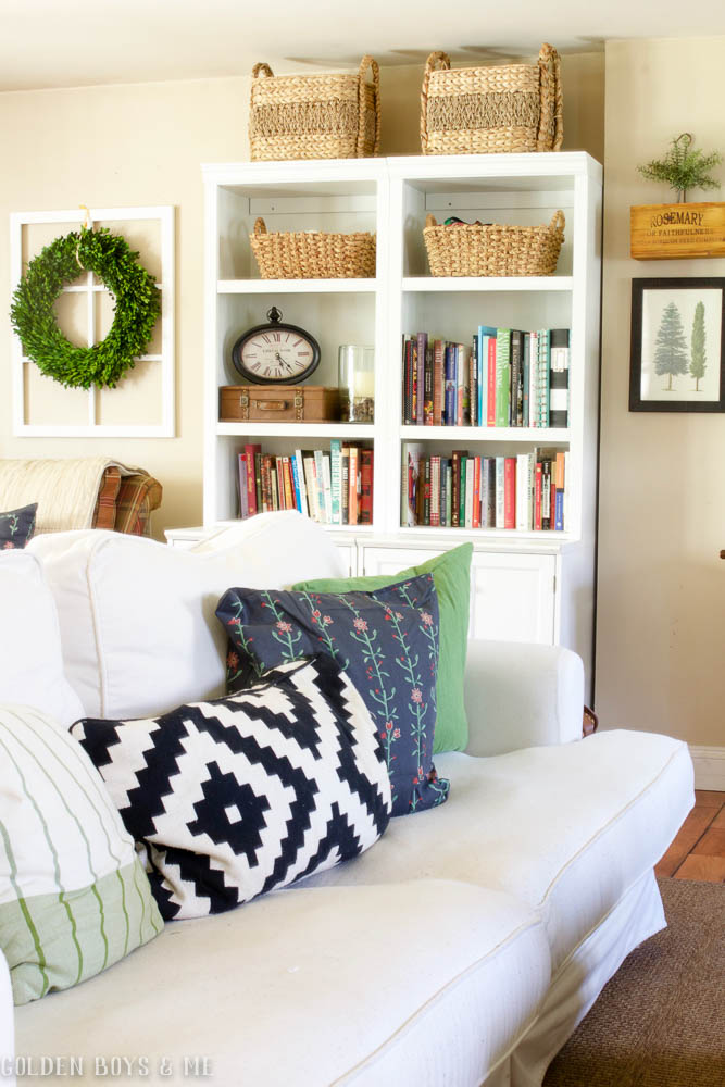 Bookshelf styling in spring family room