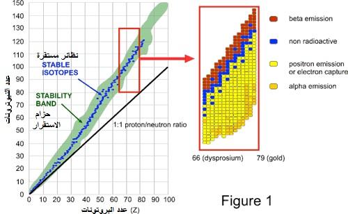 النشاط الإشعاعي للذرات المستقرة والغير المستقرة