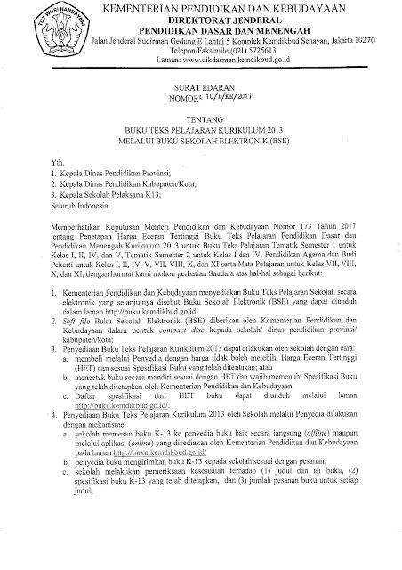 Surat Edaran Dirjen Dikdasmen No 10/D/KR/2017 Tentang Buku Teks Pelajaran Kurikulum 2013 Melalui BSE