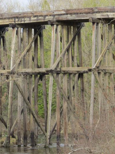 wood trestle railroad bridge at white cloud michigan marquette rail