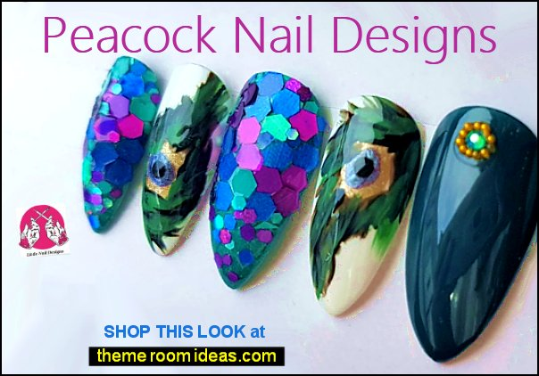 Peacock Feather Hand Painted False Nails Swarovski and Glitter