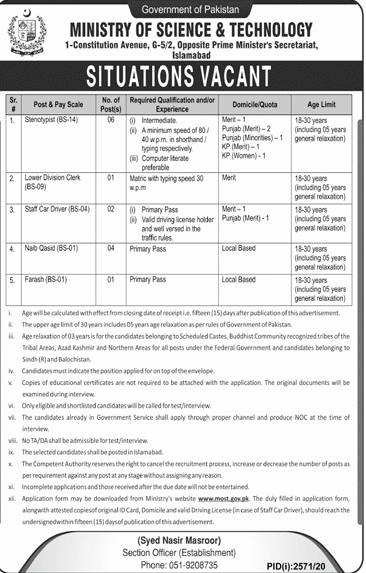Ministry Of Science And Technology Latest Jobs in Pakistan - Download Job Application Form - www.most.gov.pk