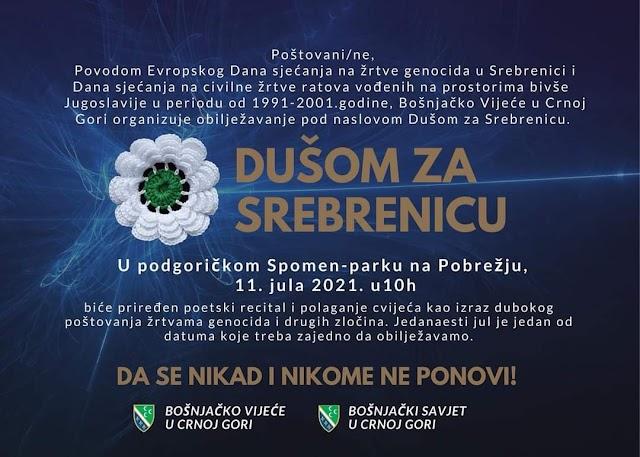 Podgorica: Sjutra obilježavanje Dana sjećanja na genocid u Srebrenici