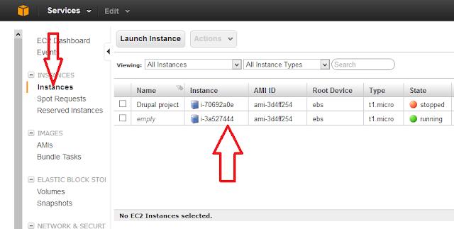 created ubuntu instance
