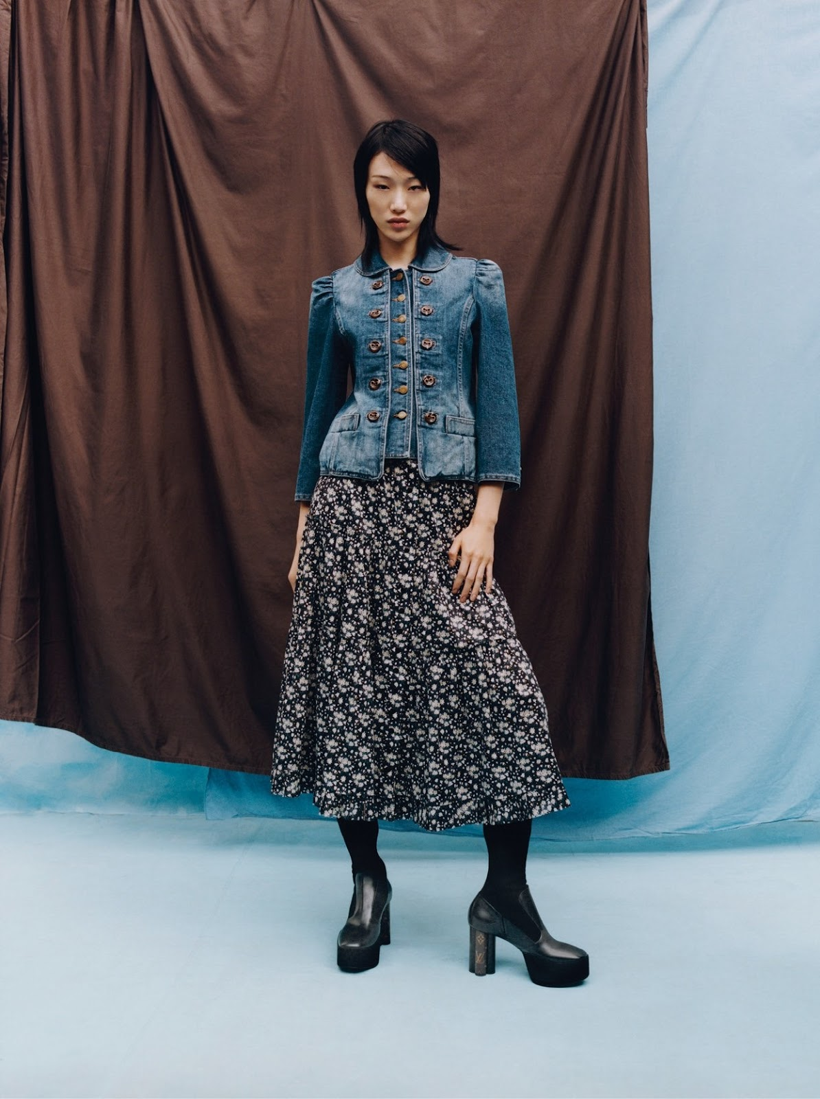 Sora Choi - The Marc Jacobs jacket and skirt. Louis Vuitton boots