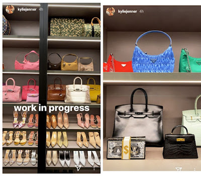 Kylie Jenner showcasing closet full of expensive shoe and purse