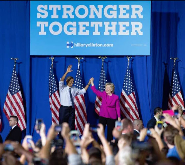 Fired Up and Ready to go! President Obama delivered a barnburner on behalf of HRC.