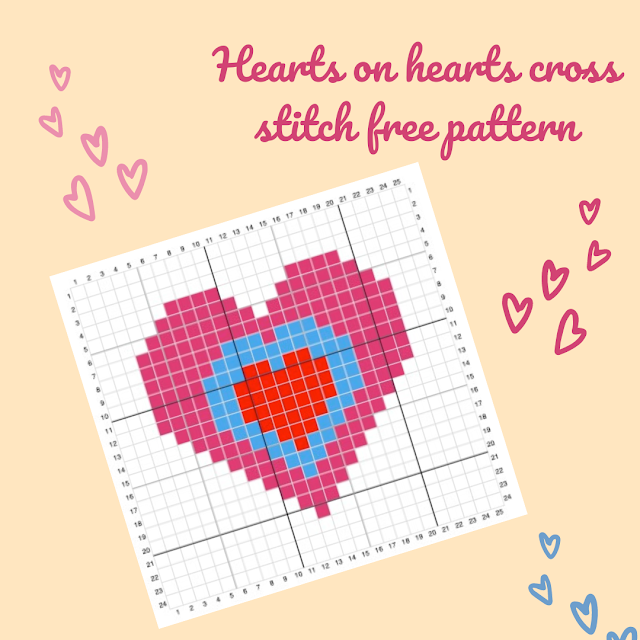 Hearts on hearts cross stitch free pattern