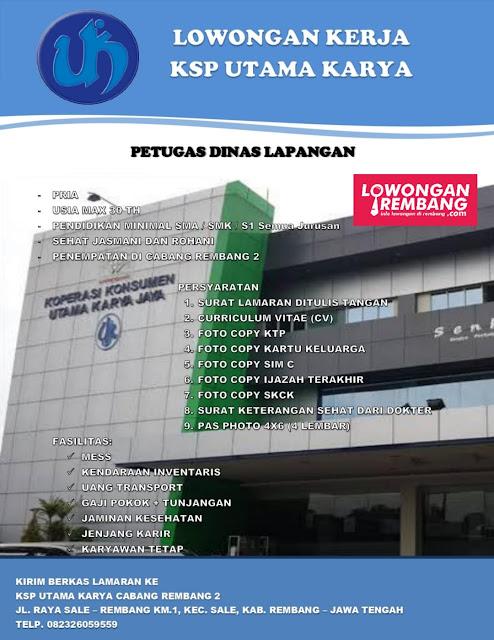 Lowongan Kerja Petugas Dinas Lapangan KSP Utama Karya Cabang Rembang 2