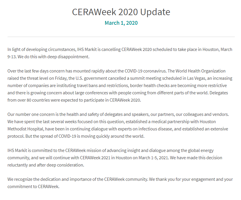In light of growing concerns around COVID-19, we've made the difficult decision to cancel #CERAWeek 2020.