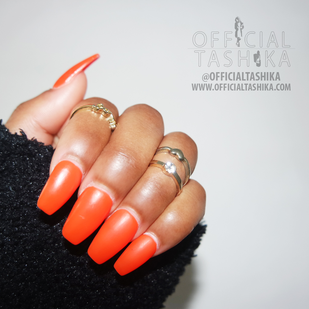 Tashika Bailey | Matte Orange Coffin Nails