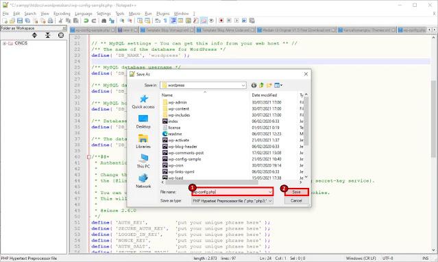 Simpan File Dengan Nama wp-config