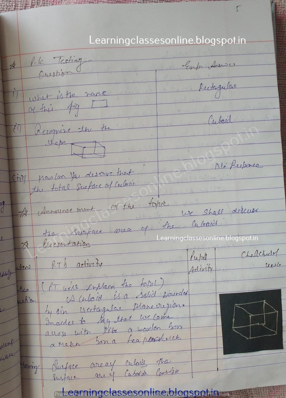 B.Ed math lesson plans PDF, maths lesson plans free download