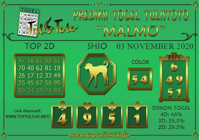 Prediksi Togel MALMO TULISTOTO 03 NOVEMBER 2020