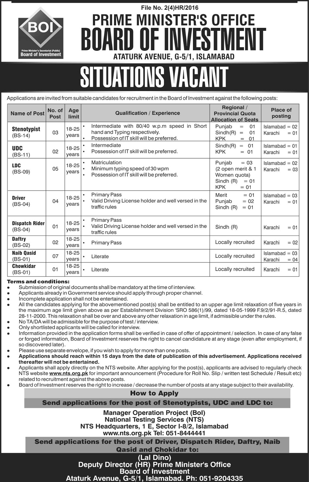 Prime Minister's Office  Board Of Investment Islamabad JObs