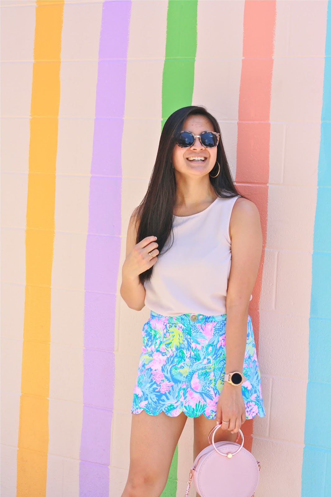 Jeni's Ice Cream striped wall - Lilly Pulitzer Scalloped Skirt - Summer Outfit