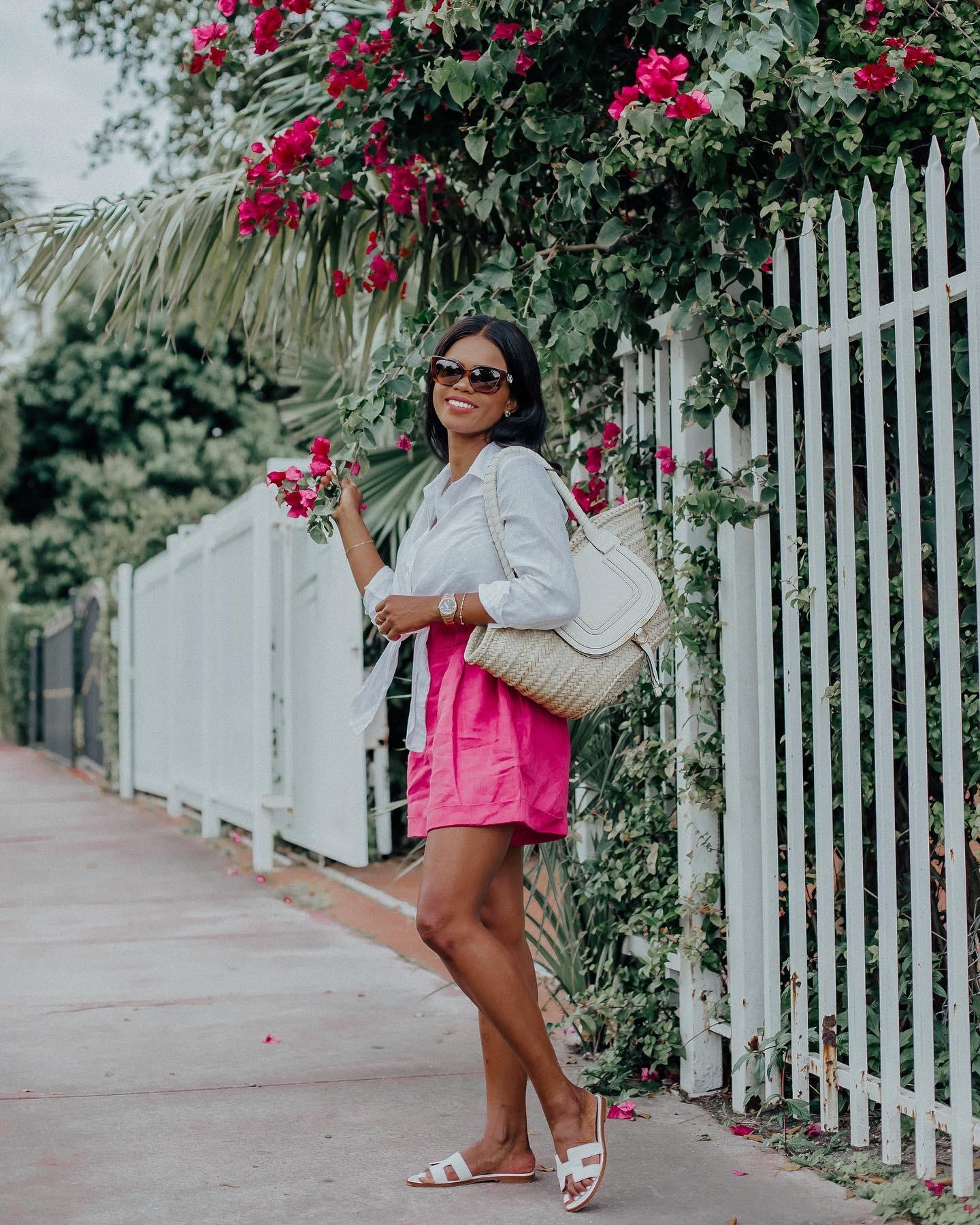 pink linen shorts