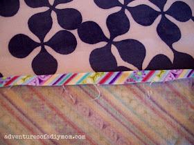 hemming edges - fold and press at 1/4 inch