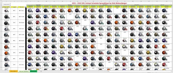2021 NFL Helmet Schedule Spreadsheet – finally automated!