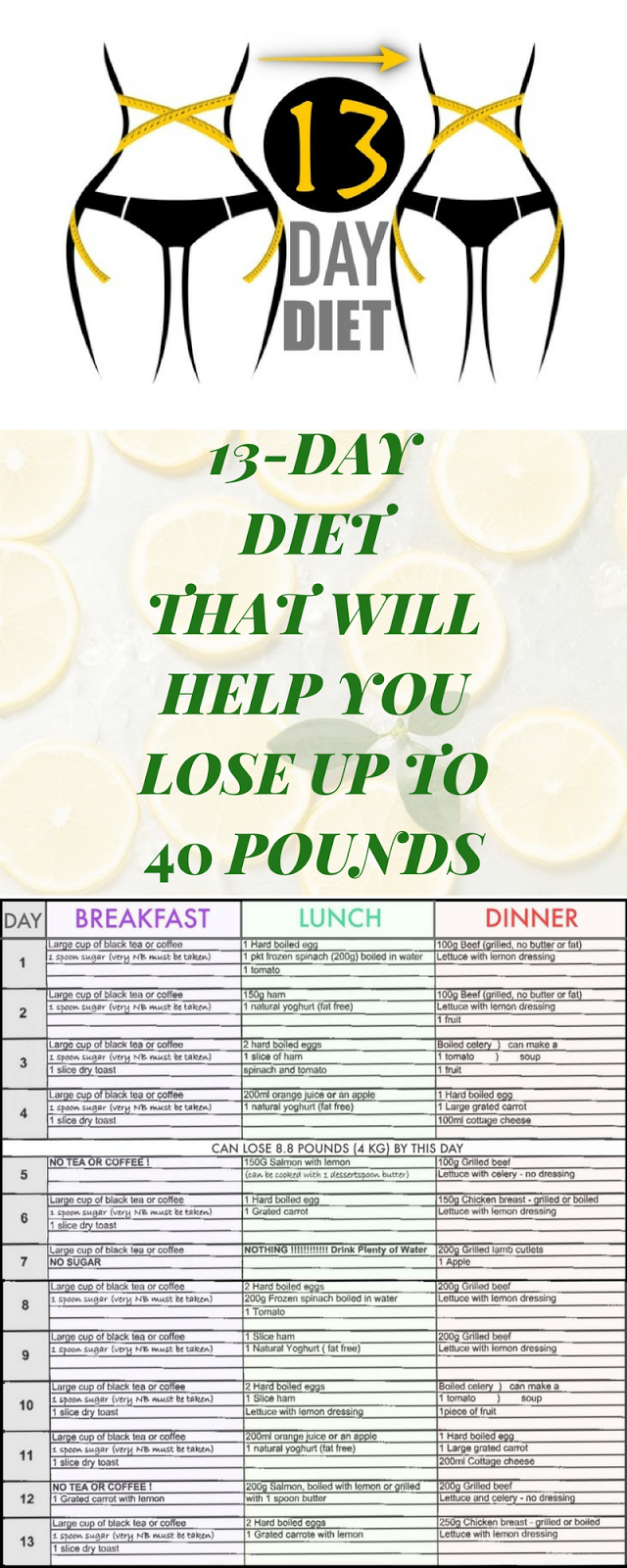 A 13-DAY DIET THAT WILL HELP YOU LOSE UP TO 40 POUNDS
