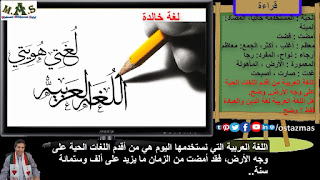 صورة شرح درس لغة خالدة - قراءة الصف الثاني الإعدادي الفصل الدراسي الثاني