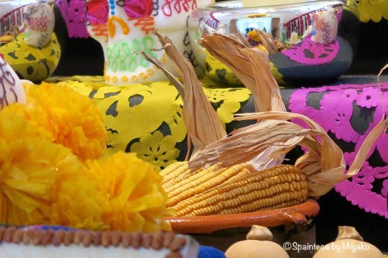 Día de Muertos, Casa de México en Madrid 死者の日のトウモロコシのお供え物