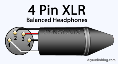 4%2BPin%2BXLR%2Bpinout%2Bbalanced%2Bheadphones diy audio electronics from zynsonix com headphone connectors Headphone with Mic Wiring Diagram at reclaimingppi.co