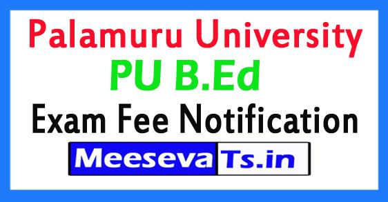 Palamuru University PU B.Ed  Exam Fee Notification 2017