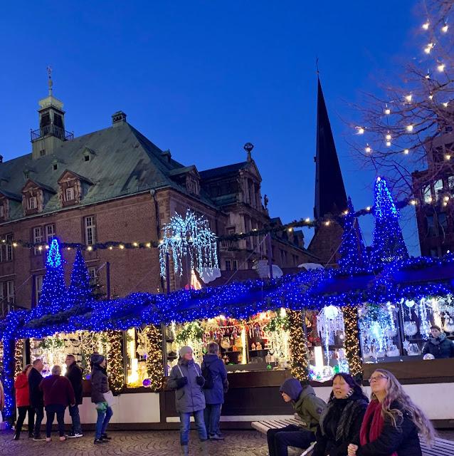 illuminated stalls at Bremen German Christmas market