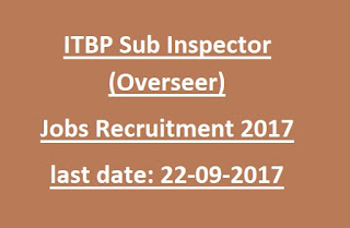 ITBP Sub Inspector (Overseer) jobs recruitment 2017