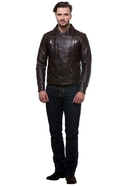 EXPRESSO COLOR CLASSIC BIKER LEATHER JACKET FOR MEN BY BARESKIN