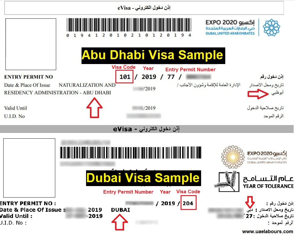 Visa samples in UAE