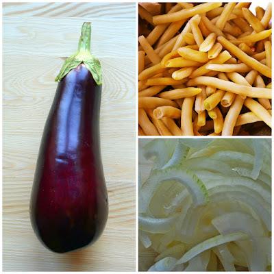 Smażony bakłażan z fasolką szparagową - składniki